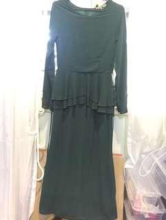POPPY Peplum Dress Moss Green