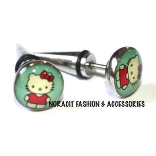 Fake Ear Expandable- Red Bow Hello Kitty Earrings - FE116