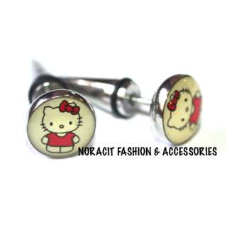 Fake Ear Expandable - Original Red Bow Hello Kitty Earrings - FE117