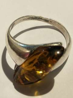 Old silver  amber ring