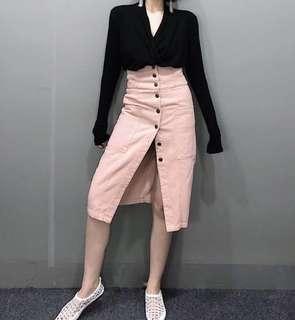 🚚 全新高腰修身粉色牛仔裙