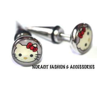 Fake Ear Expandable - Cutie Red Bow Hello Kitty Earrings - FE118