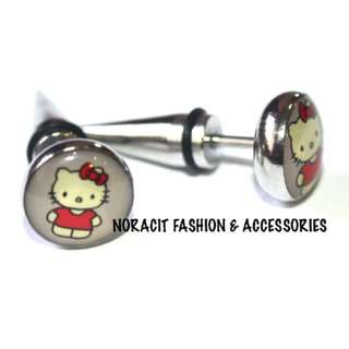 Fake Ear Expandable - Pretty Red Bow Hello Kitty Earrings - FE119