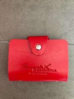 Red leather namecard holder