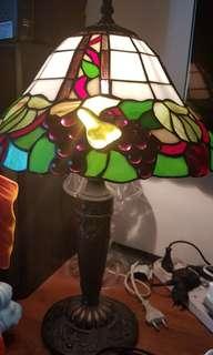 Tiffany lamp and pair of Bohemia crystal lamp