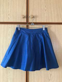 Dark denim coloured skater skirt