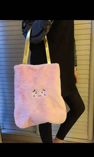 Furry monster pink tote bag
