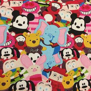 Cute Mickey Pooh cartoon cotton canvas fabric/kain diy cloth