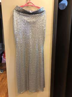 Anza Matte Sequins Mermaid Skirt in Silver