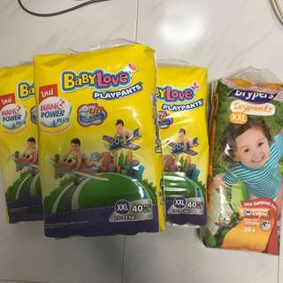 Babylove playpants XXL and Drypers Drypantz XXL