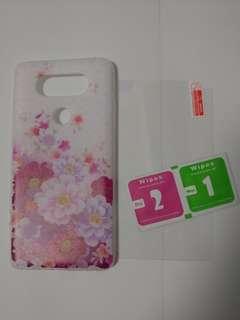 LG V20 電話套 鋼化玻璃保護貼 (全套)