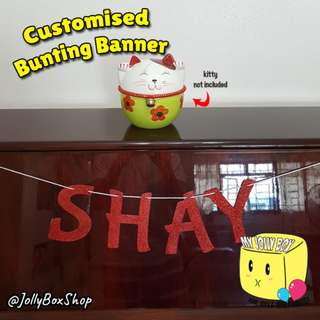 Glittery Customized Bunting Banner- Glitter Red Theme | Price based on Per Letter or Number | Other Colors Possible