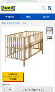 Baby Cot Pre-loved & Bed Pad