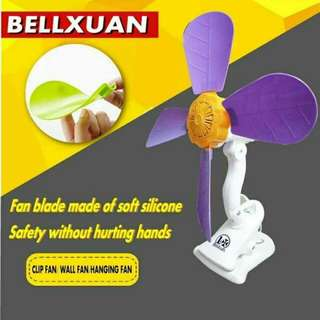 Portable clip electric fan/clip wall stand All colors avail.