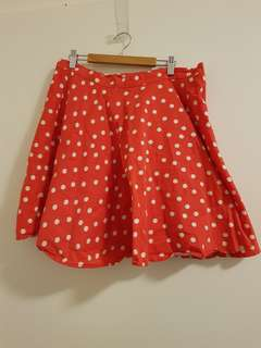 Red Polka Dot High Waisted Skirt