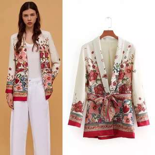 European station belt printing suit blazer