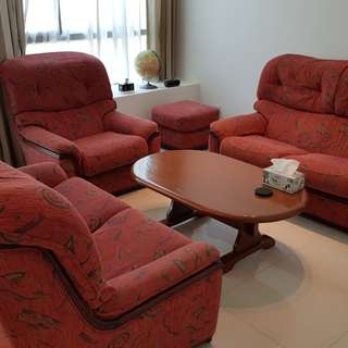 Australian made 2x 2 seater sofa + 1 seater  +coffee table