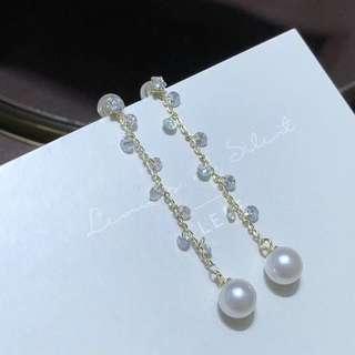 100%天然淡水珍珠純銀耳環