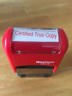 "Self inking ""Certified True Copy"""