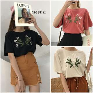 Women Flower Embroidered Tee