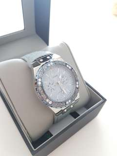 Guess Women's Stainless Steel Crystal Denim Watch