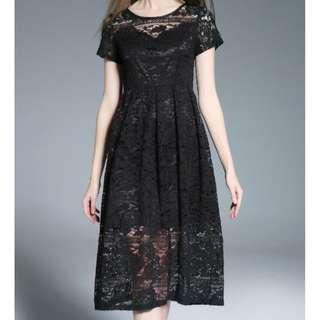 🎠 FLASH DEAL - Plus Size 5X Floral Lace Sweetheart European Korea A-line Summer Mid Dress
