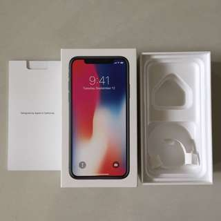 Iphone x Apple 256 grey box only.