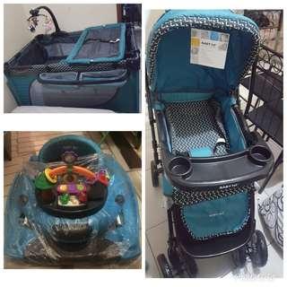 Baby 1st walker stroller playpen set
