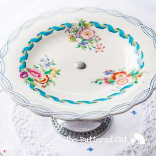 Beautiful antique blue ribbon border English plate stand, handled cake plate, two ways of use