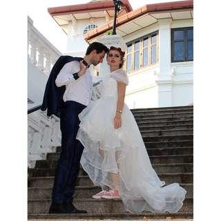 Korean short long train bridal gown