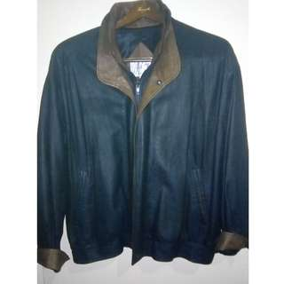 REMY Classic Double Collar Bomber Leather Jacket 2 Tone