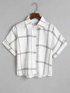 (CLEARANCE) White Button Down Checked Shirt