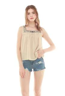 Anticlockwise square neckline embroidered top