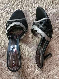 Alberto Black and Silver Heels