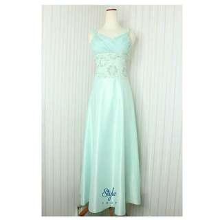 Long dress/Gaun pesta malam/Hijau mint