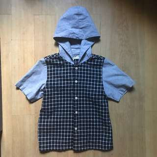 Checkered Button down hoodie