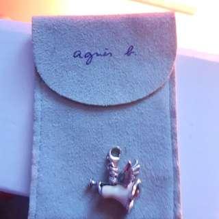 agnes b. 小天使925純銀墜飾。 真品