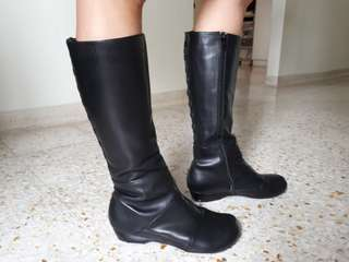 Black Full Leather High Boots
