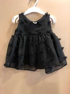 Baby Girl Dress with Pearl Button (White & Black)
