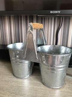 Decorative Twin Tin Pot