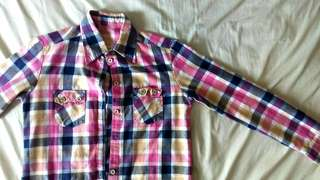Pink Yellow Grid Flannel Button Up