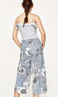 Zara inspired wide leg floral stripes pants