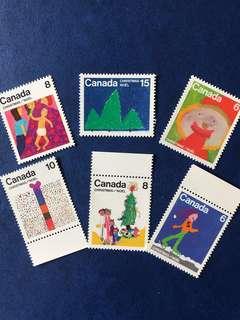 最後一套 加拿大 1975 聖誕節兒童繪畫 6全