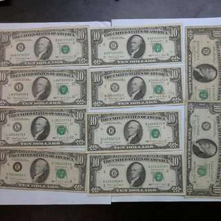 10 Usa United States $10 1981 1990 Notes Usd Us Dollars
