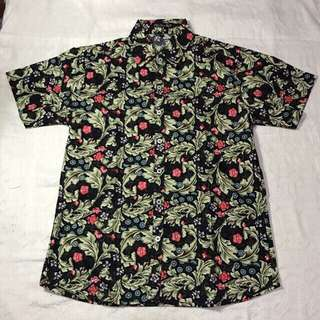 Black Floral Print Full Button Down Summer Polo