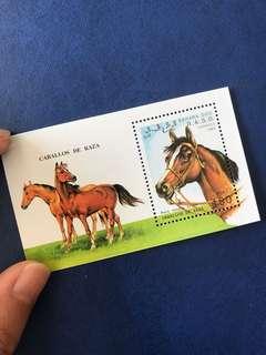 只限兩張 西撒哈拉 馬郵票 小型限 賽馬 動物