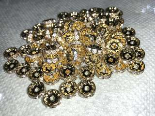 Flat Round Brass Crystal Rhinestone Spaces, Gold Plated, 10mm x 3mm, 2mm hole