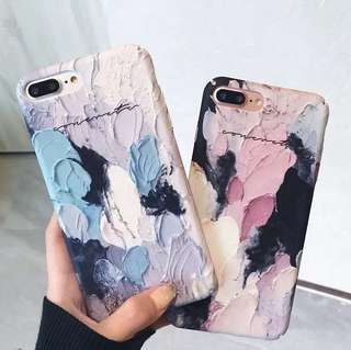 (Hard) Blue Pink Painting iPhone Case