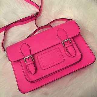 Hibou Neon Pink Cambridge-Style Satchel Crossbody Book Bag