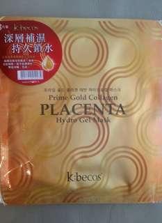半賣半送-k:becos 金胎盤素膠原收膚水晶面膜3片
